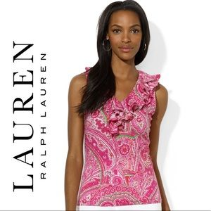 RALPH LAUREN Pink Ruffle Top Size Medium Petite